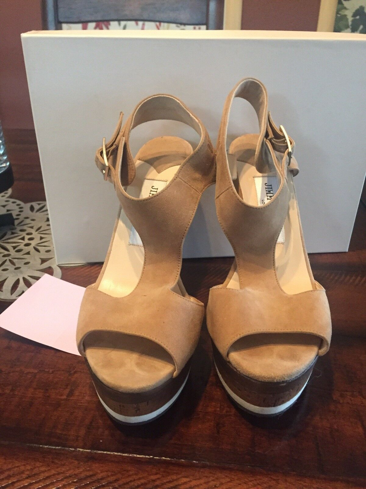 FABULOUS JIMMY CHOO Nixon Sue Almond Suede Platform Sandals, $775! Size 37, 6.5