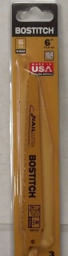 BOSTITCH BSA4802M 6 TPI Bi-Metal Reciprocating Saw Blade, 6-Inch, 3-Pack USA - $3.27