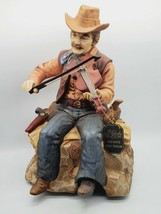 RARE Vtg. Waco Melody in Motion Porcelain Cowboy Band w Fiddle Music Box... - $197.01