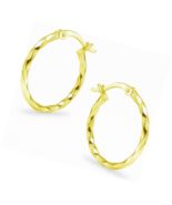 Sterling Silver High Polished Round Twist Click-Top Hoop Earrings - $26.18+