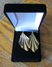Vintage Gold Tone Metal Shell Dangle Pierced Earrings - $11.99