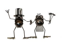 Sugarpost Scrap Metal Art Gnome Be Gone Small Wedding Couple Cake Topper... - €86,52 EUR