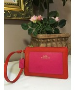 Coach Wristlet Color-block Leather Small Cardinal Pink Ruby F53142 W15 - $34.64