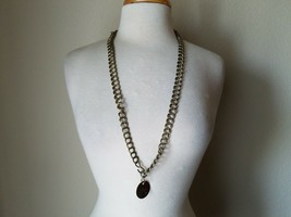 Vintage Fashion Necklace Gold Tone Large Chain Round Coin Pendant Retro Mod - $30.00