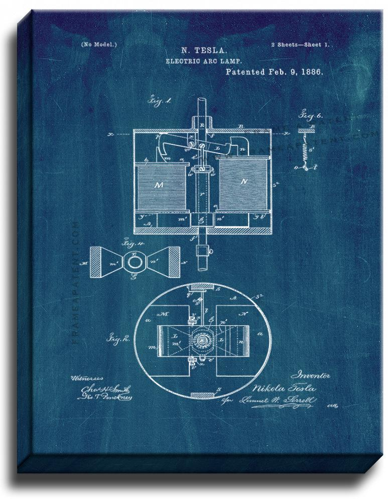 Primary image for Electric Arc Lamp Patent Print Midnight Blue on Canvas