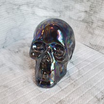 Ceramic Iridescent Skull, Fall Halloween Decor, 3 inches image 3