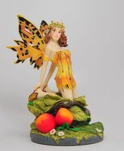 A Salons Gold Color Winged Fairy Sitting on Foliage Statue Figurine - $26.73