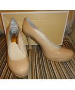 new michael kors ionna platform heels / pumps size 7.5 M medium nude lea... - $80.00