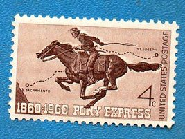 Scott   #958 United States Pony Express Stamp (1960) 4 C   brown MINT - $2.99