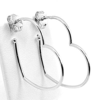 Drop Earrings White Gold 750 18K, Hearts, Length 2.9 cm, Made in Italy