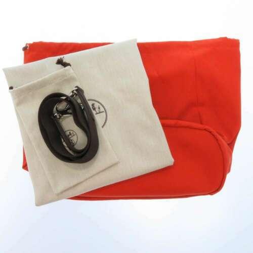 HERMES Sac de Pansage Groom Cotton Canvas Navy Brown Feu Tote Bag #D Authentic image 10