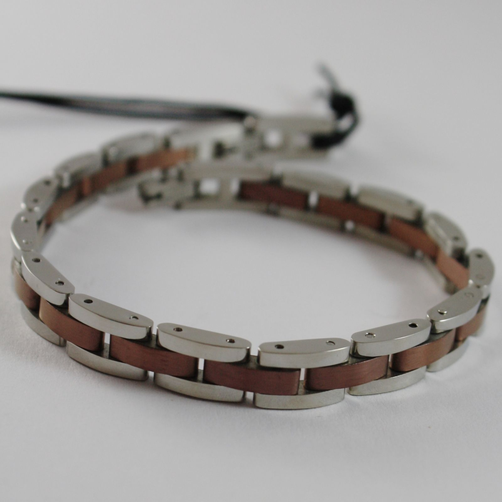 STAINLESS SATIN BROWN AND WHITE STEEL FLAT MESH BRACELET 4US BY CESARE PACIOTTI