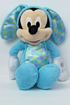 Disney MICKEY MOUSE Blue Easter Bunny Rabbit Polka Dots Stuffed Plush Toy - $17.46