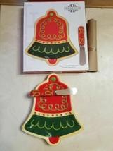 NIB Fitz & Floyd Sugar Coated Christmas Bell Snack Tray w/ Spreader FREE SHIP - $18.80