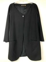 Donna Karan Black Label Womens 4 100% Silk Blazer Jacket Vintage 1 Button - $42.08