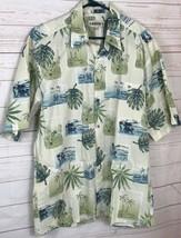 Campia Moda Mens L Palm Trees Flowers Island Scenes Hawaiian Aloha Shirt A1781 - $14.39