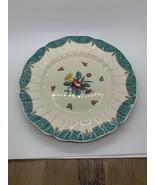 Royal Doulton Lowestoft Bouquet DINNER Plate Blue Green Fish Scale Rim - $21.77