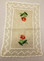 Vtg Large Rectangle Embroidered Crochet Lace Flower Embroidered Burlap D... - $15.51