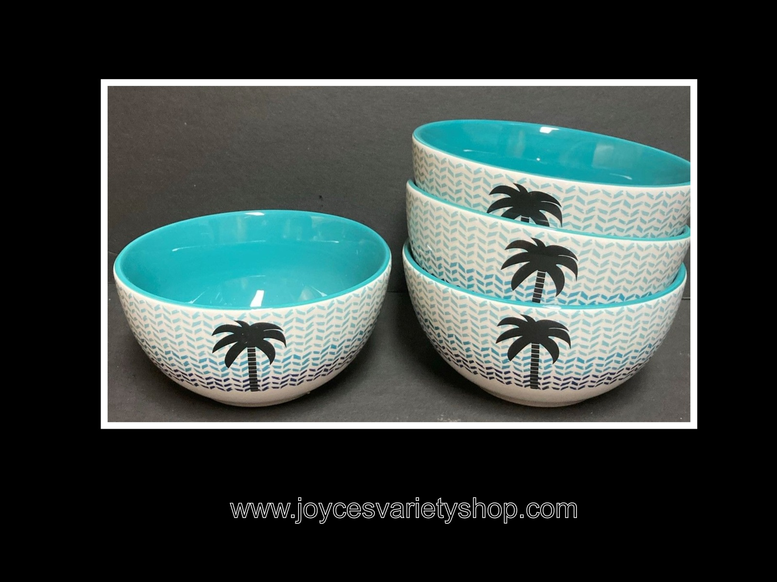 "Primary image for Ceramic Decor Cereal Soup Bowls Palm Tree Blue Design 6"" Set of 4"