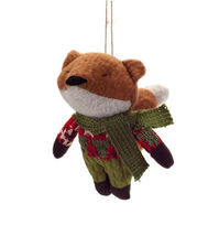"5.75"" Plush Woodland Fox Wearing Knit Clothing Christmas Ornament - tkcc - $33.95"