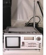 Vintage Sanyo TPM 2100 Mini B W TV AM FM Radio Alarm Clock w Case Power ... - $75.00
