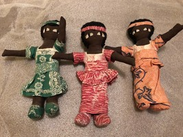 Lot 3 Vintage Black Americana Cloth Dolls w Fabric Outfits c.1940's - 50's - $29.65