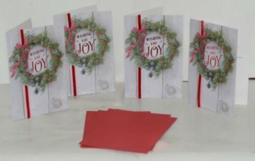 Hallmark XZH 620 4 Wreath Red Ribbon Christmas Card Package 4