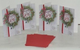 Hallmark XZH 620 4 Wreath Red Ribbon Christmas Card Package 4 image 1