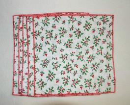 5 Christmas holiday napkins, holly berry, Christmas cocktail napkins, ha... - $10.00