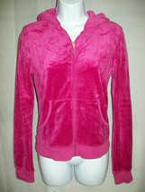 Juicy Couture Girls Sweater Jacket Sz L 14 16  Pink Velour Hooded Spring... - $21.77