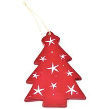 Undugu Society Hand Carved Soapstone Red Christmas Tree Holiday Ornament image 2