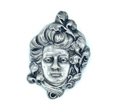 Art Nouveau Large Sterling Pin Woman with Iris (#J4944) - $193.05