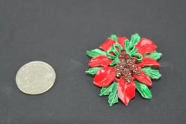 Vintage Christmas Wreath Ribbon Bow Pin Rhinestone Brooch Red Green - $11.72