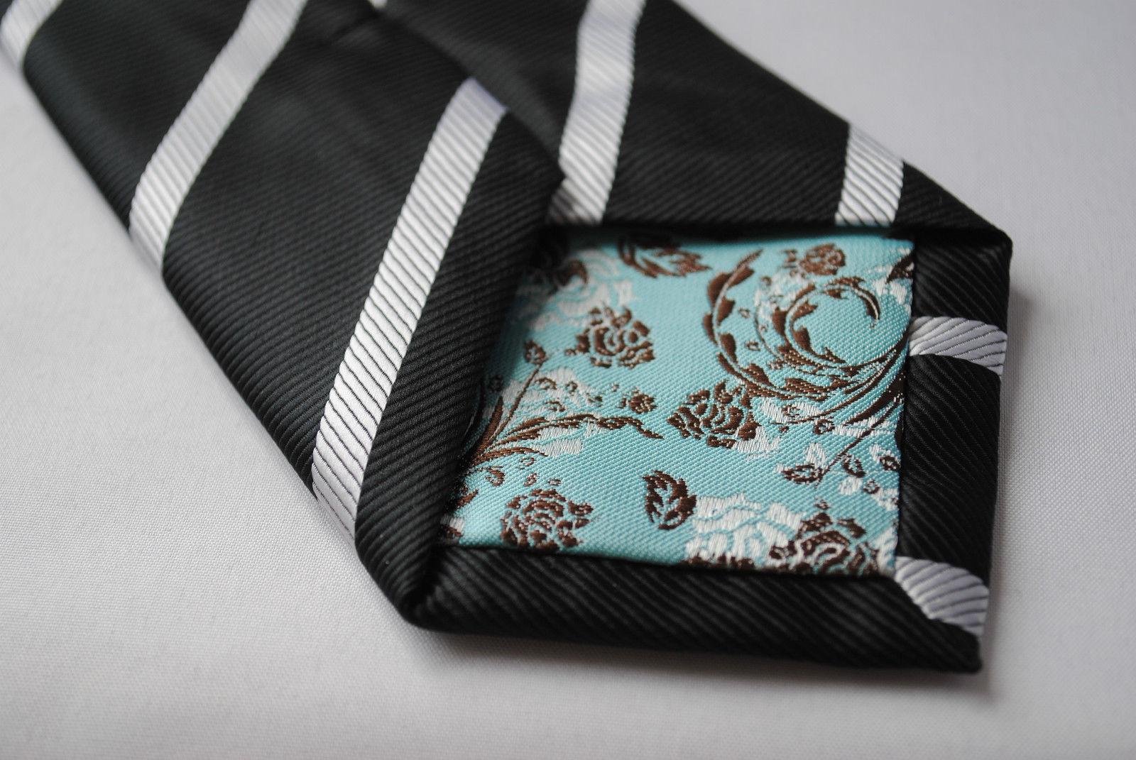 Frederick Thomas noir et blanc CLUB Cravate lignée homme ft753