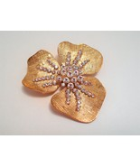 Vintage Flower Brooch Pin 3 inch Rhinestone and Goldplate - $13.20