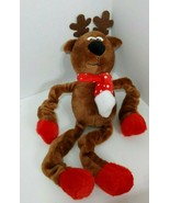Reindeer dog toy plush squeaker brown red scarf feet hooves stretchy arm... - $6.92