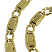 Bracelet or Jaune 18K 750, Jersey Plate Rectangulaire et Ovale Alterné 4 MM - $275.04