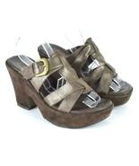 Kork Ease Brown Leather Platform High Heel Sandals Clogs Shoes Womens 6 ... - $29.69