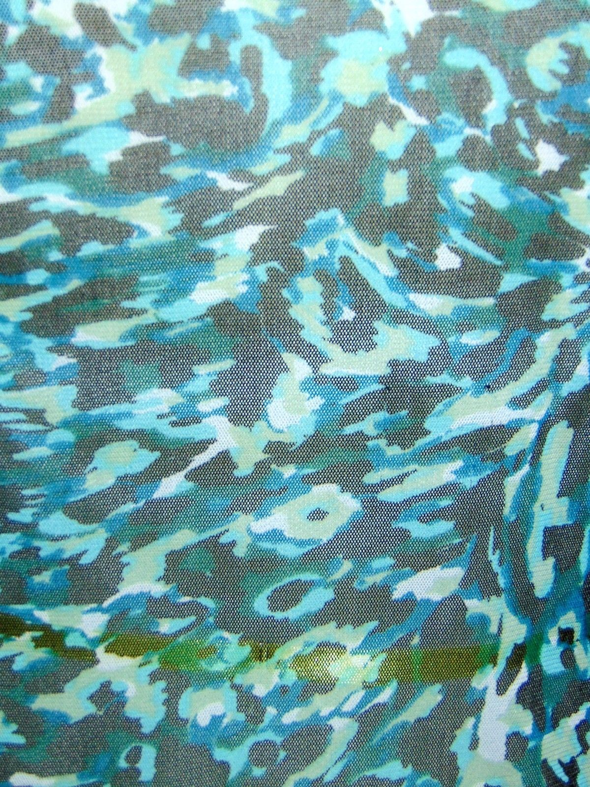 ELLEN TRACY STRETCH teal camouflage short sleeve mesh blouse S (T09-02G8G) image 6