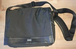 Cole Haan Black Nylon Pebbled Leather Attache Messenger Laptop Mens Shoulder Bag - $74.52