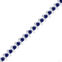 Sterling Silver Round Lab-Created Blue Sapphire Tennis Bracelet 6-1/2 Ctw - $390.79