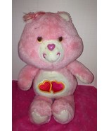 """Vintage 1983 80's Kenner Care Bears Love A Lot Pink Hearts Plush 13"""" - $22.23"""