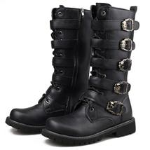 Boots Men Calf Male Skull Winter Botas Mid Motorcycle Shoes COSIDRAM Leather PU nF6Tqw