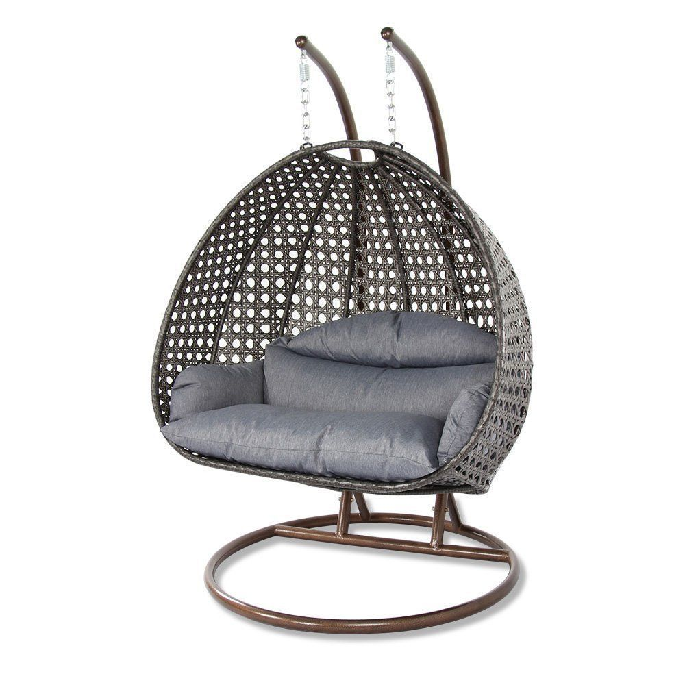 2 Person Outdoor Patio Rattan Hanging Wicker Swing Chair Egg Swing XL w/ Cover