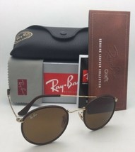 New RAY-BAN Sunglasses RB 3475-Q 9041 50-21 Brown Leather Frames w/Brown Lenses
