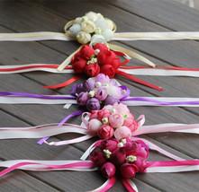 20Pcs Wedding Bride Girl Bridesmaid Floral Hand Wrist Corsage Adjustable... - $24.85