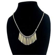 MIxed Metal Gold & Silvertone Dangling Bar Necklace - $10.88