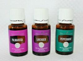 Young Living 3 Piece Essential Oil Bundle, Palmarosa, Lavender, Peppermi... - $44.54