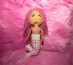 Hand Sewn Fabric Mermaid Doll, Pink Hair, Tan Skin Doll with Pink Plaid - $65.00