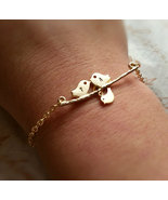Gold Love Birds Initials Bracelet With Baby Bird Personalized Bracelet - $34.00